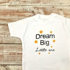 Dream Big Little One T-Shirt - Little Dreamer - Baby and Toddler Organic Tops - Star Baby - Black Grey and Yellow - Inspirational Baby Top I Shop, My Etsy Shop, Keepsake Quilting, Big Little, Organic Baby, Baby Bodysuit, Dream Big, T Shirts For Women, Trending Outfits