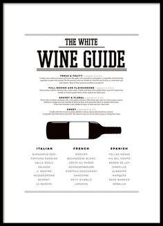 Black and white poster with a wine guide for white wines. Perfect for the wine lover and looks absolutely fabulous in the kitchen! Combine with our posters of beef, pork or chicken cuts for a complete look. www.desenio.com