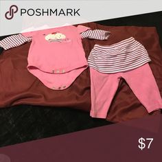 Girl infant two piece Pink with stripe top and bottom bon bebe Matching Sets