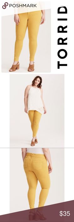 """🌟HOST PICK🌟 NWT Torrid Mustard Yellow Leggings Our jegging fit + a pop of color = obsessed. The same slim fit from hip to ankle, the same tummy-smoothing three-button higher rise waist, the same comfy stretch. Mix in a hipster-approved mustard yellow wash that's super on trend? Total game-changer. Torrid size 0  THESE ARE SHORT: 27"""" torrid Pants Leggings"""
