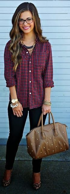 plaid shirt + leopard flats for the office | Skirt the Ceiling | skirttheceiling.com
