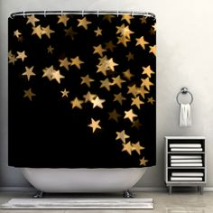 Aaa! Aaa! Aaa! Black shower curtain with STARS on it?! Ab. Fab.