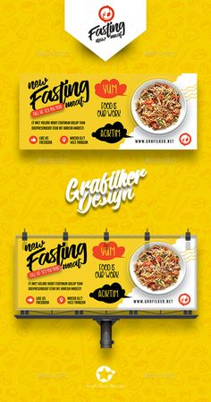 Buy Restaurant Billboard Templates by grafilker on GraphicRiver. Restaurant Billboard Templates Fully layered INDD Fully layered PSD 300 Dpi, CMYK IDML format open Indesign or la. Food Graphic Design, Food Menu Design, Food Poster Design, Web Design, Web Banner Design, Food Packaging Design, Web Banners, Flyer Design, Print Design