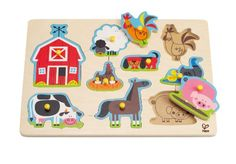 Hape - Farm Animals Wooden Peg Puzzle >>> Check out the image by visiting the link.