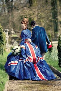 union jack wedding dress. Might be going a bit far I think but whatever makes you happy I say! And it looks great!