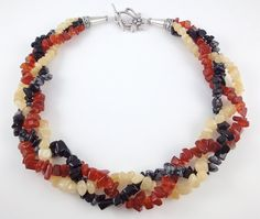 Multi Strand Chunky Necklace, Carnelian, Ambronite and Snowflake Obsidian semi precious beads, by Polly-A Jewellery on Etsy