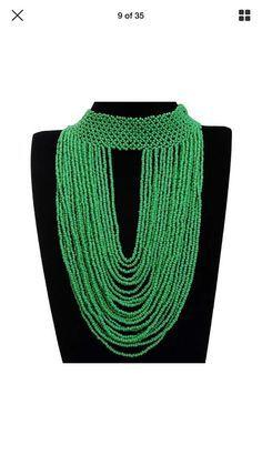 Zulu Masai layerd beaded bib necklace