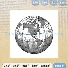 World map globe sketch vector sketch lean pinterest map globe earth globe world map digital image graphic by vintageretroantique gumiabroncs Gallery