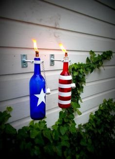 Red Bottle add-on to Flaming Fourth of July Wine Bottle Torch Set July 4th Holiday, 4th Of July Party, Fourth Of July, Holiday Fun, Wine Bottle Torches, Wine Bottle Art, Wine Bottle Crafts, July Crafts, Holiday Crafts