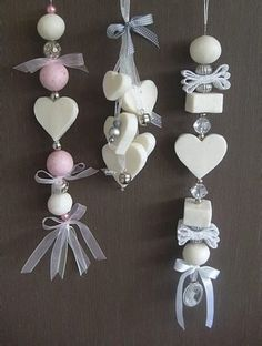 Soapchains: cut soap in squares with a hot knife or a cookie cutter that you´ve soaked in hot water. Use wax cord and tie a small charm on the bottom. String beads and pieces of soap. To keep moths and other bugs out of your closet, use ceder or citronella soap. Great activity for kids! You can make holes in pieces of soap with a knitting kneedle or something like that soaked in hot water. The heat makes it easier to cut en poke through the soap.