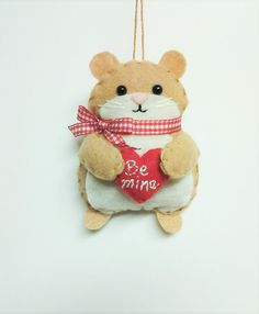 Felt Valentine Hamster Ornament  Felt by BeckyLynnCreations