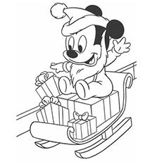 The Baby Mickey Mouse On Sleigh Coloring Pages