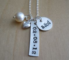 personalized couples necklace / wedding gift for bride / personalized hand stamped jewelry by hello lovely designs