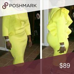 Dress Ruffle on one size scuba knit dress Dresses Midi