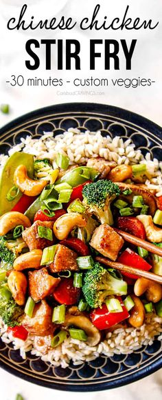 Chinese Chicken Stir Fry On Your Table In Less Than 30 Minutes With Pantry Ingredients And Whatever Veggies You Have On Hand The Garlic Ginger Stir Fry Sauce Is To Live For And I Love The Crunchy Cashews Chickenrecipe Via Carlsbadcraving Chinese Chicken Stir Fry, Chicken Stir Fry Sauce, Chicken Stir Fry Ingredients, Asian Chicken, Veggie Fries, Veggie Stir Fry, Chicken Vegetable Stir Fry, Broccoli Chicken, Wok Sauce