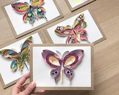 Quilling original card Butterfly with broken wings Unique Paper Art Handmade gift Unique design S Quilling Butterfly, Quilling Flowers, Paper Butterflies, Paper Flowers, Quilled Roses, Butterfly Mobile, Butterfly Dragon, Monarch Butterfly, Paper Quilling Patterns