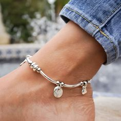 Gigi Anklet in Silver and Single Leather Strand Charm Ankle Bracelet – Lizzy James Beaded Anklets, Beaded Jewelry, Handmade Jewelry, Handmade Wire, Artisan Jewelry, Ankle Jewelry, Cute Jewelry, Jewelry Ideas, Leather Jewelry