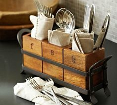 Vintage Blacksmith Flatware Caddy from Pottery Barn. Shop more products from Pottery Barn on Wanelo. Kitchen Items, Kitchen And Bath, Kitchen Storage, Kitchen Decor, Kitchen Caddy, Kitchen Racks, Kitchen Organizers, Kitchen Organization, Kitchen Canisters