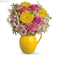Pour on the charm with this delightfully sunny mix! Arranged in our signature Sunny Day pitcher - a lovely gift - this mix of bright gerberas and delicate is a guaranteed smile-getter.Includes pink roses, yellow gerbera and alstroemeria. Easter Flower Arrangements, Easter Flowers, Summer Flowers, Floral Arrangements, Fall Flowers, Floral Centerpieces, Fresh Flowers, Rose Delivery, Same Day Flower Delivery