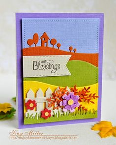 Stitched Panel; Lawn Fawn, flowers: PTI, Impression Obsession, My Favorite Things, Leaves- Poppystamps, House/tree border-Memory Box, Hills- My Favorite Things,  My Joyful Moments