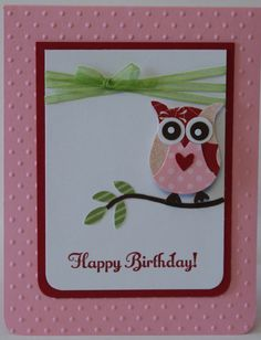 stampin up owl punch birthday cards | Owl Birthday Card Stampin Up Handmade by BeingACreativeMom on Etsy