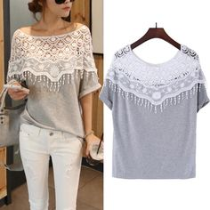 2015 Summer New Casual Fashion Loose Hollow Out Lace Women T Shirt Crochet Batwing Sleeve Tops Plus Size Women Clothing Online with $12.83/Piece on Blackfriday's Store   DHgate.com
