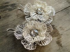 silver plated wire crochet flower earrings with swarovski $38.00 on katerinaki1977 on etsy