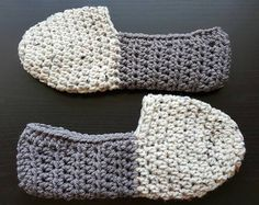 Warm crochet mens house slippers. (This listing is for a finished product)  Made from bulky weight acrylic yarn.  Crochet sole (not intended for outdoor use)  You choose the colors. Can be made to fit womens sizes too, just specify in the note to seller section  Thanks so much for your business. All items are made to order, please allow 2-3 weeks for shipping.   First two pictures and pattern courtesy of http://www.etsy.com/shop/twogirlspatterns