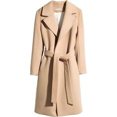 H&M Coat in a wool blend ($120) ❤ liked on Polyvore featuring outerwear, coats, jackets, camel, camel coat, h&m coats, wool blend coat, h&m and tie belt