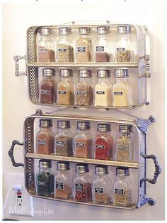 Old Silver Plated casserole stands used as a Spice Rack!  Everyday Uses for Your Sterling