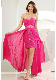 2016 Prom Dresses-A-line Strapless Sweetheart-neck Chiffon With Beading Full-length Prom Gowns