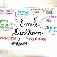 ✨ Resumo de sociologia sobre Émile Durkheim ✨ . . . . . . . . . Acho válido dar uma aprofundada em alguns conceitos de Durkheim, principalmente o suicídio. É uma teoria muito útil para ser citada em redações e enriquecer o seu texto. 😋 . . . . . . . . (Mais resumos no drive. Link na bio) . #studygram #resumos #mapamental #sociologia #enem2018 #enem Emile Durkheim, Study Philosophy, Mental Map, Study Techniques, Study Organization, Bullet Journal School, Study Hard, School Notes, Study Inspiration