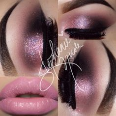pale glittery pink lids with blue + silver glitter pigments, cool dark grey outer corner, black winged eyeliner, pale pink lips Makeup Goals, Makeup Inspo, Makeup Art, Makeup Inspiration, Makeup Tips, Hair Makeup, Makeup Ideas, Cute Makeup, Prom Makeup