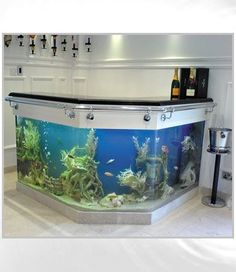 fish tanks made by tanked! Aquariums :: Bespoke L Shaped Bar Fish Tank :: Aquarium Manufacturers Aquarium Design, Home Aquarium, Aquarium Fish Tank, Aquarium Ideas, Aquariums Super, Amazing Aquariums, Tanked Aquariums, Fish Aquariums, Aquarium Terrarium