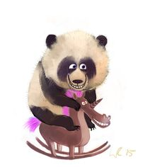 Panda on a rocking horse by Wiebke Rauers