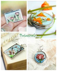 Botanical Hand Painted Watercolor Jewelry by Sarah-Lambert Cook   http://www.sarahlambertcook.com/collections/all/botanical