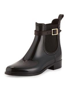 X28AM Jimmy Choo Jai PVC Short Rain Boot, Black