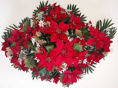 Artificial floral sprays and headstone sprays. Beautiful cemetery flower arrangements for headstones and tombstones. Poinsettia Flower, Christmas Flowers, Winter Flowers, Christmas Cross, Christmas Fun, Christmas Wreaths, Christmas Decorations, Grave Flowers, Cemetery Flowers