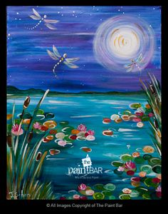 Moonlit Dragonflies Painting - Jackie Schon, The Paint Bar