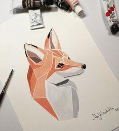 portrait art Abstrakte Welt - Polygone, die s - art Geometric Drawing, Geometric Art, Animal Drawings, Art Drawings, Art Fox, Art Et Nature, Wild Nature, Polygon Art, Inspiration Art