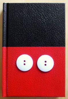 Hardback notebook painted black and red +  2 buttons glued on. Great autograph book! #DisneySide