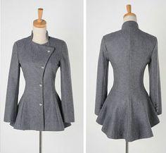 Sweet Round Collar Dovetail Dark Gray Slimming Long Sleeves Women's CoatCoats | RoseGal.com
