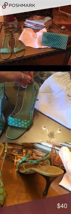 Cute Kate Spade sandals w/matching clutch 👛 👡😍 Beautifully good used condition 2.5 inch sandals with matching little clutch. No rips or tears! By Kate Spade and made in Italy. Comes with dustbag! Kate Spade Shoes Sandals