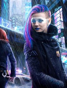 Cyberpunk poster/scene, personal piece done to try out some new techniques. The foreground character is based on a photo of - Ginta Lapina On Patrol Cyberpunk 2077, Cyberpunk City, Cyberpunk Kunst, Cyberpunk Aesthetic, Cyberpunk Fashion, Shadowrun Rpg, Arte Black, Videos Instagram, Ex Machina