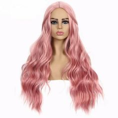 Suri Hair long body wave synthetic wigs for women cosplay wig pink 30 inches pure color african american hair free ship fake 514 women Cheap Lace Front Wigs, Cheap Wigs, How To Wear A Wig, Body Wave Wig, Pink Wig, Wigs For Sale, Black Ombre, Wigs Online, Womens Wigs