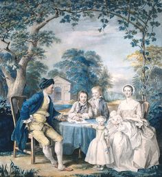 British School 18th century (1700‑1799)  Title  A Family Group in a Garden  Date  circa 1754  Medium  Watercolour and gouache on paper