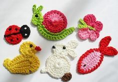 Animal Figured Knitting Applique Models – 30 Strick-Tiermotive - My CMS Crochet Motifs, Crochet Squares, Crochet Stitches, Crochet Amigurumi, Crochet Toys, Knit Crochet, Crochet Lion, Crochet Keychain, Crochet Earrings