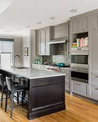 Image Result For Dark Gray Cabinets With Dark Wood Island Grey Kitchen Designs Grey Kitchens Transitional Kitchen Design