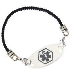 Black Macrame Medical ID Bracelet with Charcoal Oval Tag