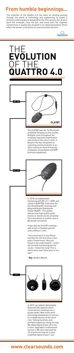 From humble beginnings come great things- find out where the Quattro 4.0- an amazing wearable Bluetooth listening device- got its start!   #TechTuesday #TechNews #Innovation #AssistiveTech #WearableTech #HearingLoss #Deaf  http://www.clearsounds.com/pdfs/Quattro_Evolution.pdf